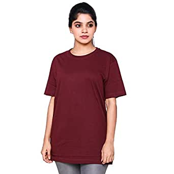 EASY 2 WEAR Women's Cotton Loose and Long Fit T-shirt (E2WLTS00006_S, Maroon, Small)