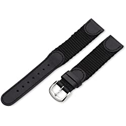 Hadley-Roma Men's MSM866LA 190 19-mm Black 'Swiss-Army' Style Nylon and Leather Watch Strap