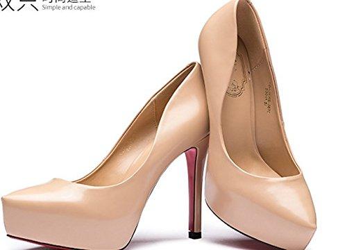 Dame peu profonde chute fashion en cuir verni a fait chaussures/Chaussures à talon haut talon B