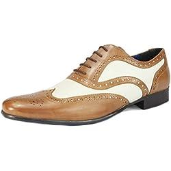 Red Tape Gatsby - Zapatos para hombre (piel), diseño estilo años 20, color blanco y negro, color, talla 44 EU