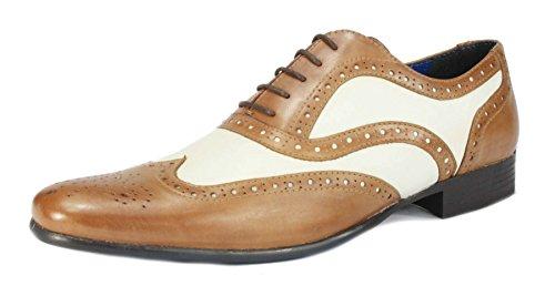 Scarpe stringate da uomo in pelle, a punta rotonda, nero e bianco/marrone e bianco (Tan / White)