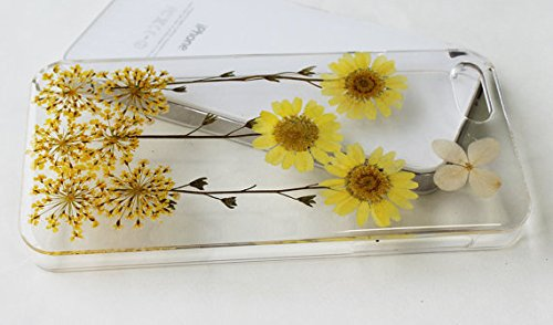 Diebily margherita gialla e lavanda a mano reale secchi fiori pressati custodia per iPhone 6(11,9cm)/6S