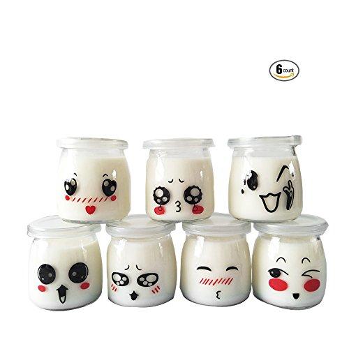 Ensemble de 6 bocaux de yaourt avec couvercle motif émoticône, 200ml