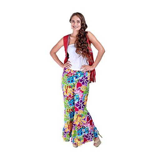 Charm Rainbow Hippie Hose Damen Fasching 80 Jahre Schlagermove Mädchen Glocken Hose mit Süßen Blumen und Auto Muster Halloween und Karneval Kostüme Zubehör 3 Größe (S - - Blumen Mädchen Kostüm Halloween
