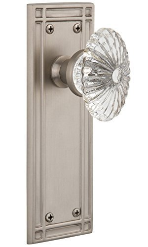 Nostalgic Warehouse Mission Plate with Oval Fluted Crystal Knob Complete Passage Set, Satin Nickel by Nostalgic Warehouse Fluted Crystal