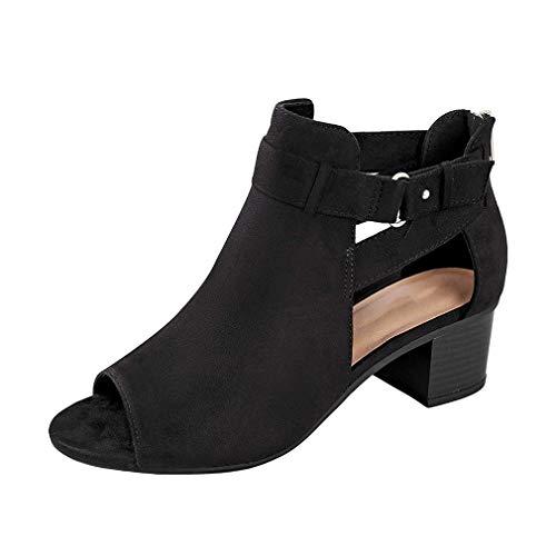 Sandalen Damen Sommer Mit Absatz Sandaletten Frauen Blockabsatz Wildleder Leder Peeptoe Schnalle Sommerschuhe Bequeme Elegante Schuhe Schwarz 34 -