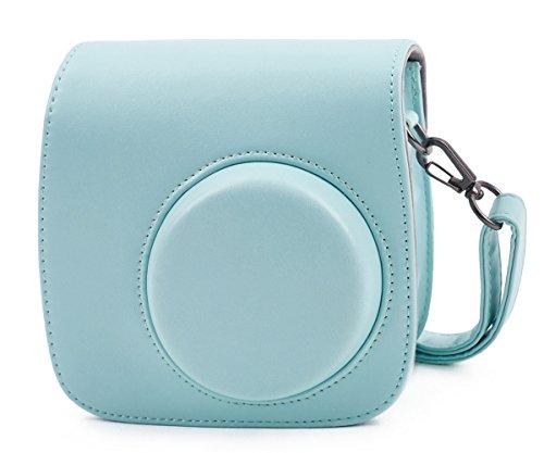 Leebotree Tasche für Fujifilm Instax Mini 8 8+/Mini 9 Sofortbildkamera aus Weichem Kunstleder mit Schulterriemen und Tasche(Ice Blau)