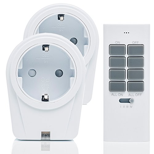 solidBASIC - Funk Schalter Steckdosen Set : 2 x Funksteckdosen + 1 x Fernbedienung | 4-Kanal Plug &...