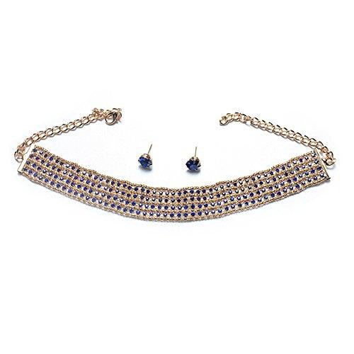 QIYUEQI Ms Schmuck voll Bohrer Legierung Halskette Ohrringe Set's Legierung Frauen Mode Accessoires und Geschenke.