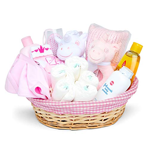 Baby Box Shop - Baby Girl Hamper Basket with Baby Clothes, Newborn Essentials, Baby Blanket, Pink Unicorn Comforter and Rattle