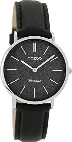 Oozoo Vintage Damenuhr Lederband 32 MM Glitzer/Schwarz C8836