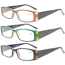 Eyekepper Gafas de lectura 3 Pack en morado,rosa,azul cristales en estilo clear vision comodo brazos de resorte caja y paño de limpieza incluido +0.5