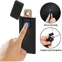 leegoal Mechero con Huellas Dactilares, USB, Recargable, Resistente al Viento, sin Llama