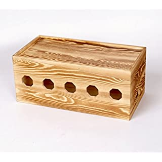 GZD Wooden Cable Tidy Box, Power Strip Cord Socket Storage Boxes For Desk,TV, PC, Home And Office,Kids & Pet Friendly,35*18*15Cm