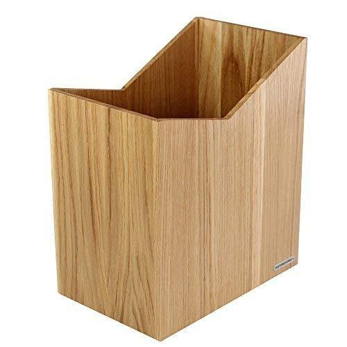 NATUREHOME Papierkorb SKRIPT aus Holz ohne Deckel I Papiereimer oder Mülleimer für Büro, Bad und Wohnzimmer aus Eichen-Holz Natur geölt I verarbeitet aus hochwertige Materialien im modernem Design