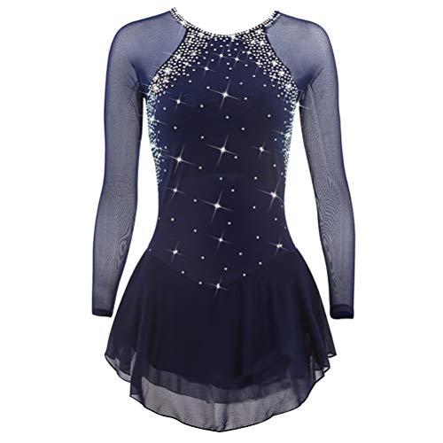 YunNR Klassische Professionelle Eislaufbekleidung Mesh-Ärmel Rundhals Handgefertigtes Eiskunstlaufkleid für Damen Performance Schnelles trockenes Gymnastikkostüm, 10