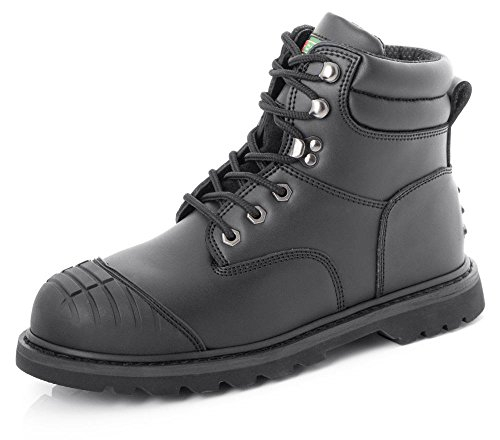 Click Goodyear Welted Safety Work Boots with Steel Toe Cap | Black | UK7 EU41 Black Steel Toe Work Boot