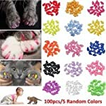JOYJULY 100pcs Cat Nail Caps Pet Cat Claw Kitty Caps Control Soft Paws of 5 Different Colorful Nail Covers for Cats+ 5… 6