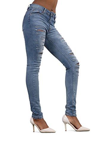 Laulia Damen Straight Leg Jeanshose, Einfarbig blau blau Blau