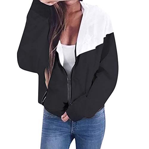 Briskorry Damen Mantel Sport Pullover Jacke Mode Strickjacke Herbst Winter Sweatshirt Sport Mantel Retro Bomber Jacke Zipper Weste Vintage Outwear mit Taschen, Schwarz, EU-42/CN-XXL