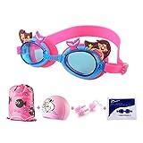 IvyH Schwimmbrillen für Kinder, Schwimmbrille mit Badekappen Nasenklammern und Ohrenstöpselsets für Schwimmer 5-teiliges Set für Kleinkinder Mädchen Jungen Alter 3-12(Meerjungfrau)