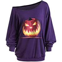 Sudadera Sexy Mujer Pullover 3D Otoño Camiseta de Manga Larga Hombro Halloween Angry Pumpkin Print Camiseta S-2XL