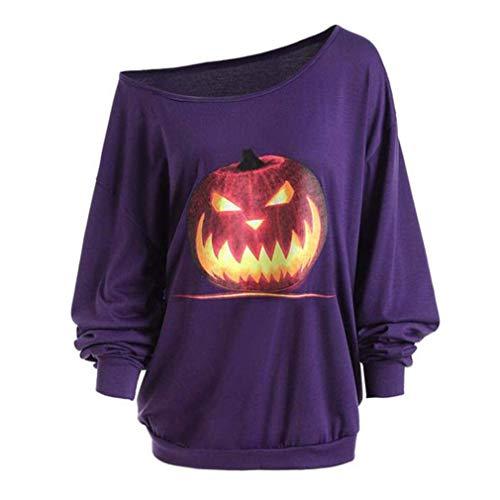 Frauen sexy Pullover 3D Sweatshirt Herbst Langarm Shirt Schulter Halloween wütend Kürbis Print T-Shirt Lila M