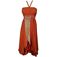 Boho Chic Designs Lara Womens Sundress 2 Layer Upcycled Silk Sari Resort Fashion Hi Low Halter Dresses S/M