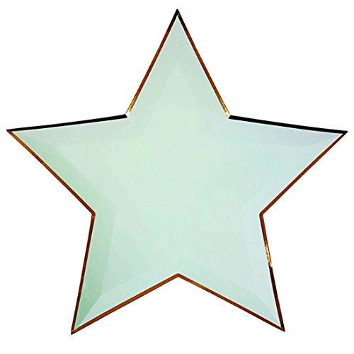 (GWELL 8 Stück Sterne Pappteller Kindergeburtstag Party Papier Einweg Teller Tasse einmaliges Party Geschirr mint)