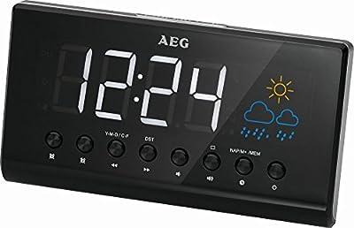 Proyector de reloj radio despertador radio despertador estación meteorológica despertador (15,5cm Gran pantalla LED + 2alarmas)