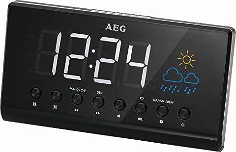 Projektions-Uhrenradio Radio Wecker Radiowecker Wetter-Station Wecker (15,5 cm Großes LED-Display + 2 Weckzeiten)