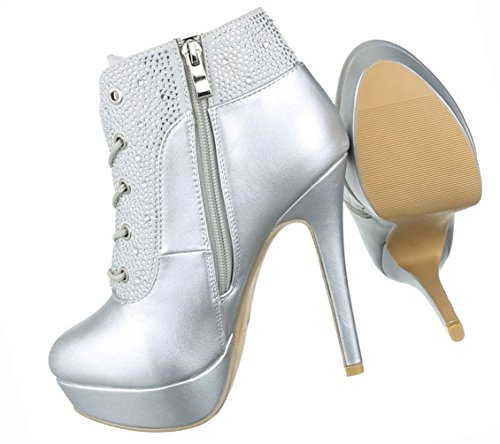 Boots Ankle Gold Stiletto Heels Damen Silber High Schuhe Stiefel Plateau Stiefeletten qwxfF4