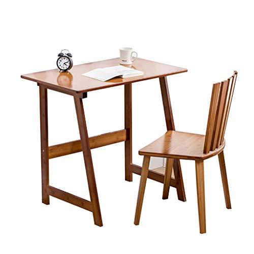 Einfacher Computertisch Heimstudentisch einfacher Bambus Schreibtisch und Stuhl Frühstückstisch (Color : Brown)