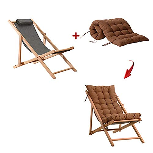 QYYzdy Tragbare Camping Klappstuhl Gepolsterte Kissen Sitz, Verstellbare Lounge Sessel, Patio Garden Picknick Holz Chaise Lounge (Color : A) -