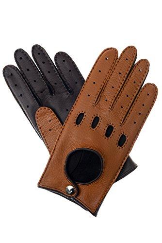 Herren Lederhandschuhe Autohandschuhe aus Hirschleder zweifarbig sand / dunkelbraun 8.5
