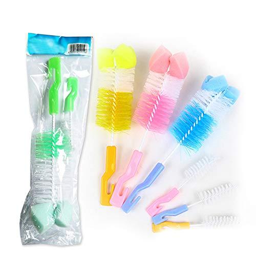 Set de Limpiador de Biberones,Cepillo para Biberones,Cepillo de Limpieza,Limpieza de Biberón Escobilla para Limpiar Biberón Botella para bebé(2pcs/color aleatorio)