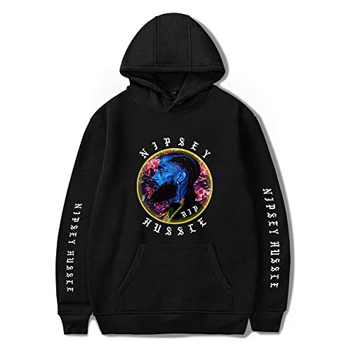 Bebling Crenshaw Hoodie Nipsey Hussle Herren Hip Hop Rap Tribute Sweatshirt Pullover B-Schwarz, 3X-Large -