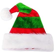 BESTOYARD Chapeau de Noel Tissu Bonnet Pere Noel Peluche Motif Rayure Rouge  et Vert pour Enfants e1e3f843d41