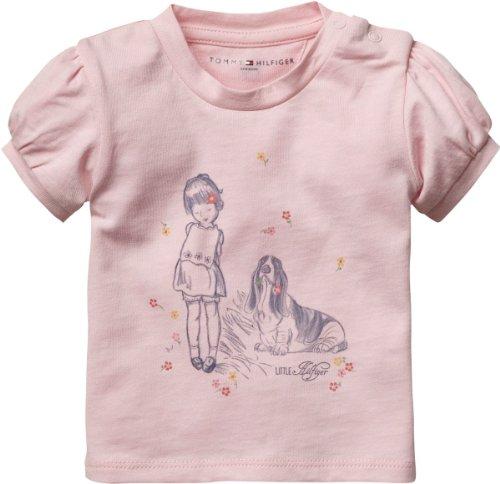 Tommy Hilfiger Baby - Mädchen T-Shirt EVELYN BABYGIRL CN KNIT S/S / EZ57112117, Gr. 68, Pink (680 BARELY PINK)
