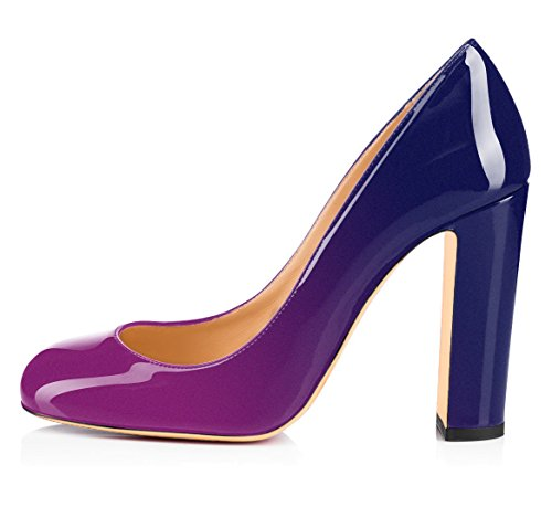 Chaussures Femme Ubeauty Bout Rond - Chaussures À Talons - Talons Hauts - Chaussures À Talons - 100mm Block Heel Violet-bleu