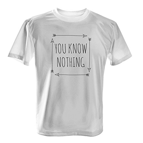 Fashionalarm Herren T-Shirt - You Know Nothing | Fan Shirt als Geschenk Idee zur GoT Serie Weiß
