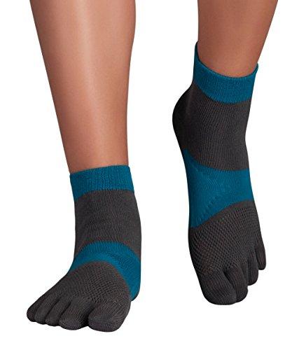 KNITIDO MTS Explorer, Chaussettes 5 Doigts pour la Course à Pied Robustes, antimicrobien, Pointure:39-42, Couleur:Grey & Blue