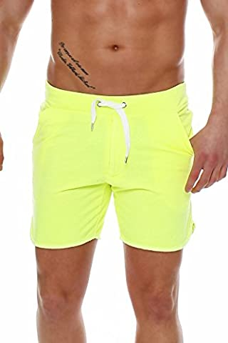 Happy Clothing Herren Hose kurz Shorts Bermuda Jogginghose Sommer Pants Stoffhose Sweathose, Größe:XXL, Farbe:Neongelb
