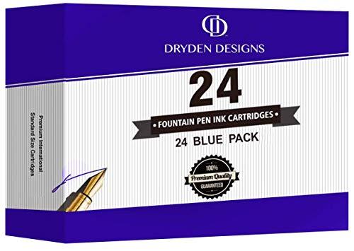 Füllhalter Füllfederhalter Füller-Tintenpatronen von Dryden - 24 BLAU - Kurze internationale Standardgröße - Einweg-Nachfüllpatronen - Perfekt für Kalligraphie