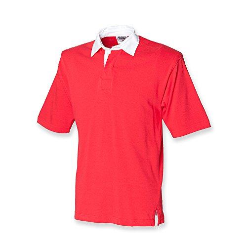 Front Row Polo de rugby à manches courtes en coton pour homme Red