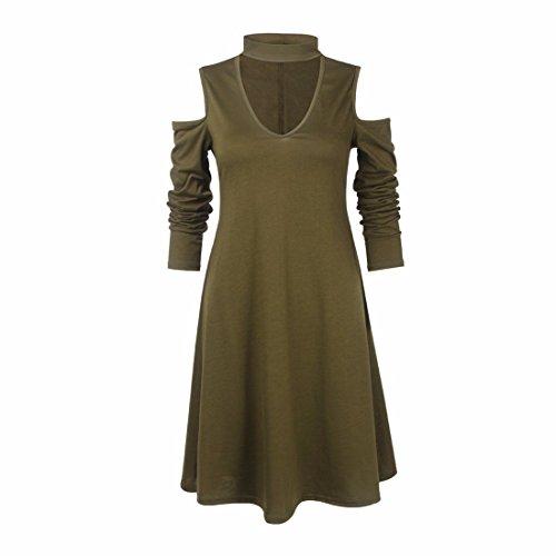 Frauen V-Chokerkragen Kalte Ernte Geschnittene Schulter Lange Hülse A-Line Langes Hemdkleid Grün
