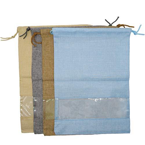 DODOGA DOGA 4 Stück Leinen-Reisetasche, Dessous-Taschen, Wäschebeutel, Schuhbeutel, für Reisen, Aufbewahrung für Männer und Frauen, waschbare Stoff-Schuhbeutel