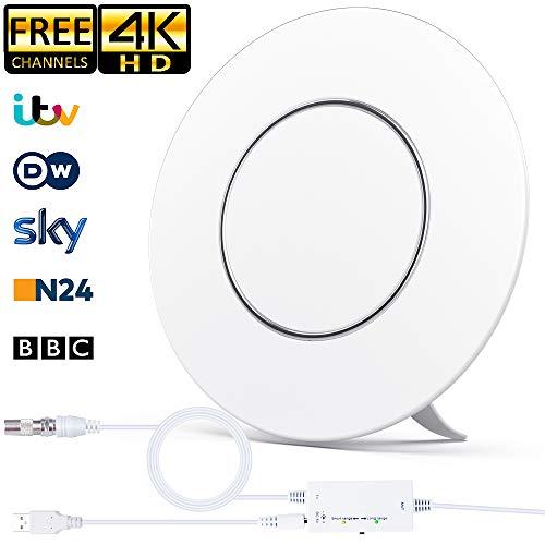Indoor-DVB-T2-Antenne, Runde Digitale DVBT2-HDTV Antenne 200KM Reichweite Smart Verstärke