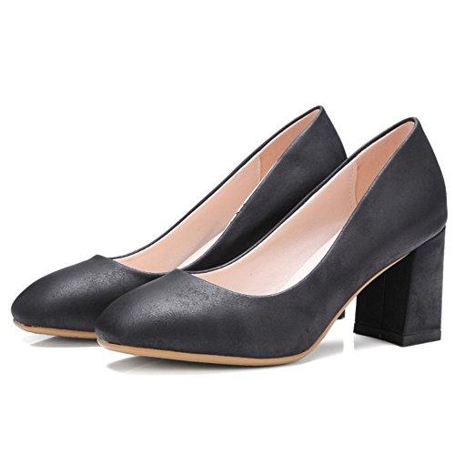 TAOFFEN Femme Simple Mince Talon Moyen A Enfiler Talon Carre Escarpins Bas Decontracte Chaussures A Bureau Noir