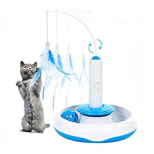 Katzenspielzeug, moonlux Katzenspielzeug Elektrisch Katzenspielzeug Federstab Intelligenzspielzeug Katzenspiel Drehen Feder Spielzeug 360° Drehung